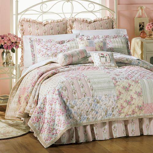 Kensington king quilt vintage shabby cottage roses - Shabby chic bedroom sets for sale ...