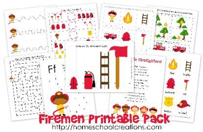 Firemen Learning Printables (preschool, kindergarten, vocabulary, and lapbooks)