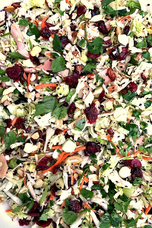 This Asian Chicken Cranberry Salad can be served at a party as a main dish, or a side salad, and I promise, it's always the first to go. It's just good!