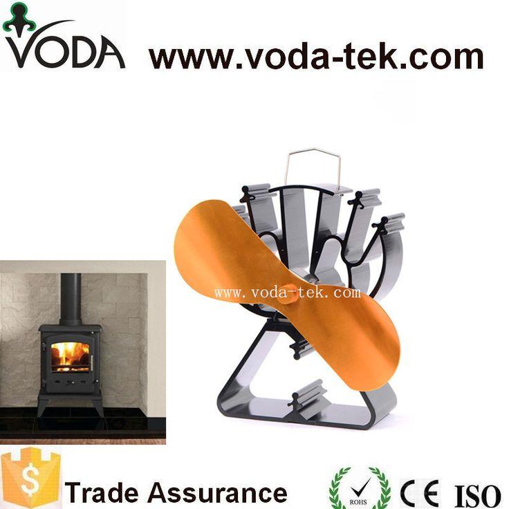 De chaleur alimenté cuisinière ventilateur avec 2 lames d'or + triangle en forme de base pour bois/log brûleur/cheminée-Eco Friendly