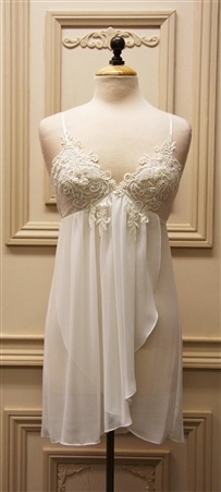 bridal lingerie.   short wedding night gown with ivory lace and blueish mesh for sheer elegance.