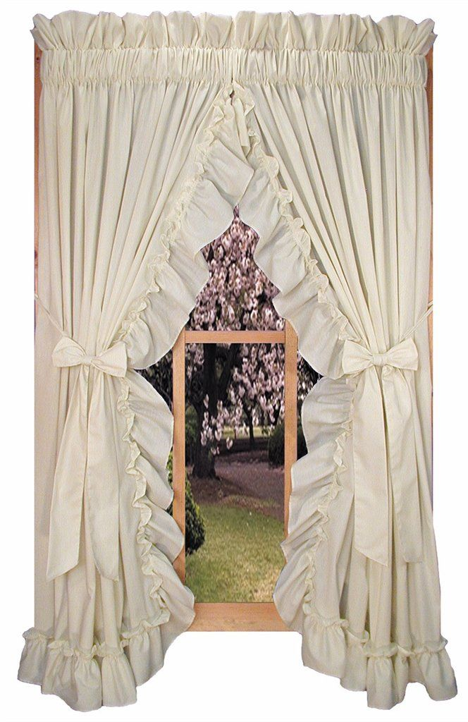 Ruffled Priscilla Curtains With Bow Tie Backs For Wide Windows