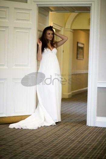 Abiti da Sposa Premaman-chiffon senza spalline scollatura a cuore abiti da sposa premaman