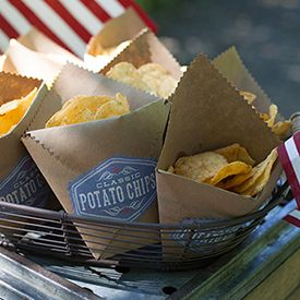 Make these adorable bags from kraft paper to hold your chips or other party snacks. These are great for little fingers to hold their goodies as they eat.