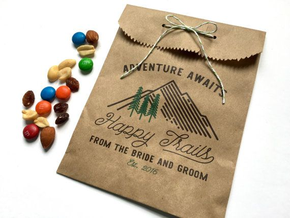 Wedding Favor Bag, Wedding Goody Bag, Wedding Treat Bag, Happy Trails Favor Bag, Trail Mix Favor, Printed Treat Bag, Kraft Bag
