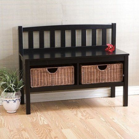 Best Wooden Black Storage Benches Settee Park Style For Entryway Entry  Hallway Hall Entertainment Center Dining Room End Of Bed Bathroom Window  Bedroom ...
