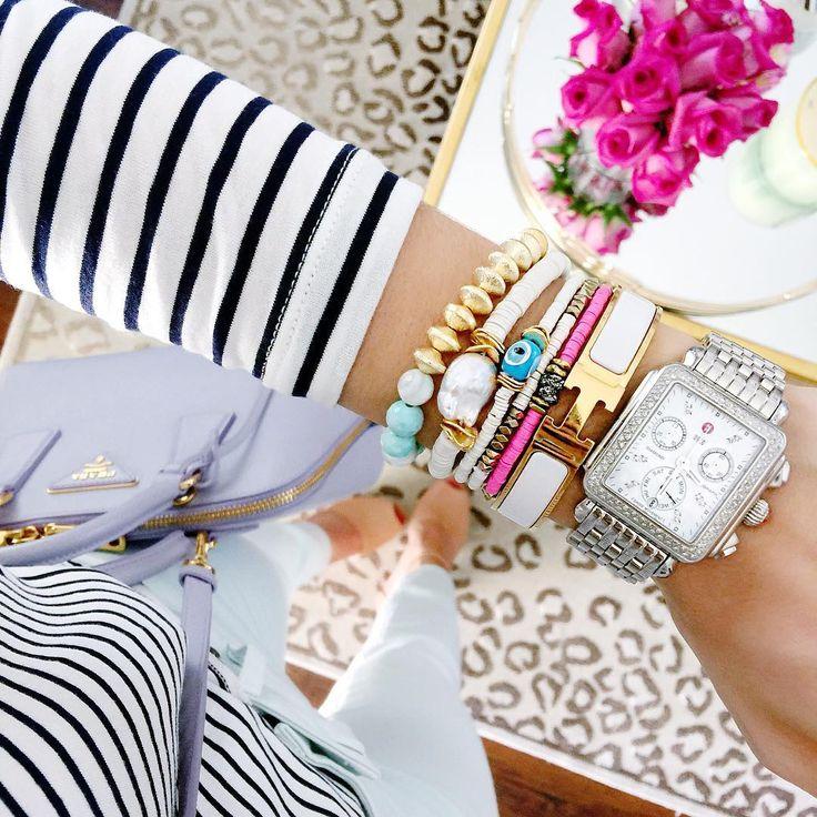 Preppy bracelet stack with Hermes bracelet.