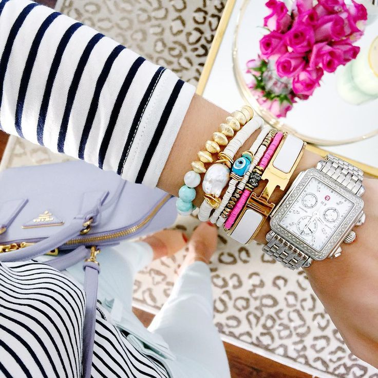 Preppy bracelet stack with Hermes bracelet.