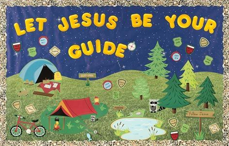 "bulletin boards for church | ... in Camping Bulletin Board Set 867002 Yellow 4"" Casual Letters"