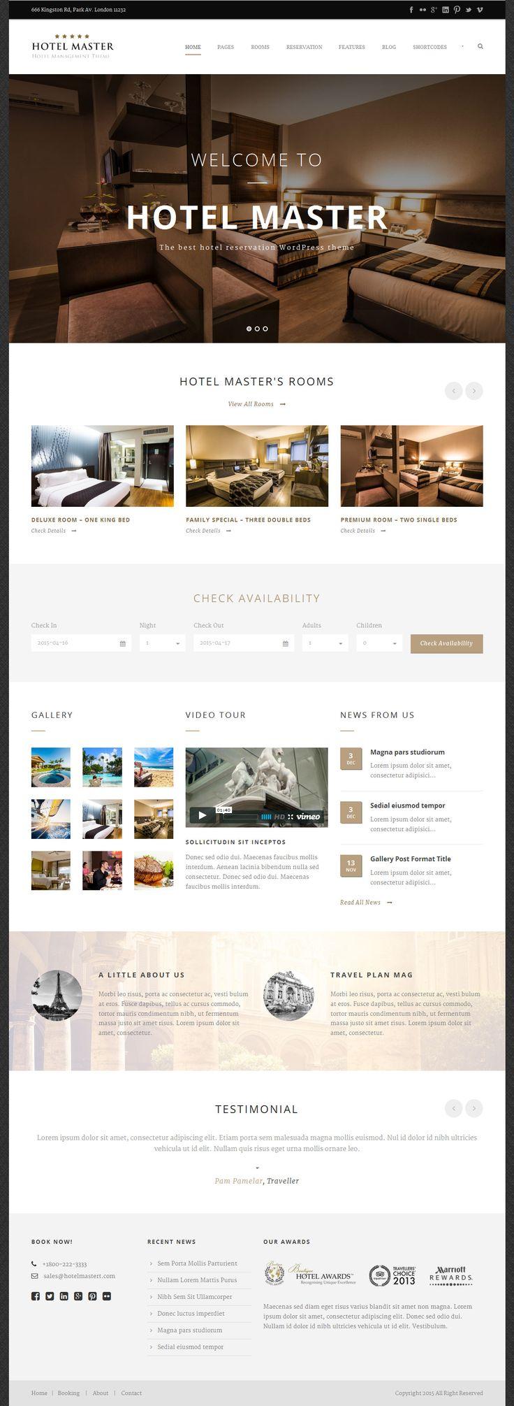 Hotel Master is the best hotel, resort, room reservation WordPress theme. #webdesign Download: http://themeforest.net/item/hotel-master-hotel-booking-wordpress-theme/11032879?ref=ksioks