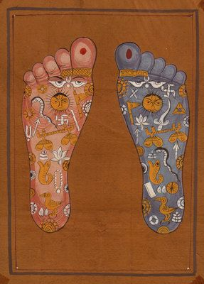 Vishnu Pada Footprint Foot Tantrik Tantric Painting Indian Hindu Handmade Art