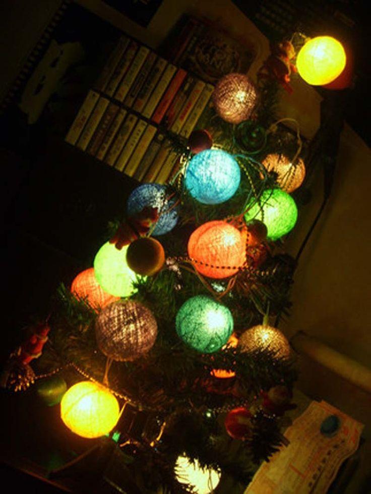 Cotton ball light christmas led string fairy lights garland decoration holiday party guirnalda luces de navidad