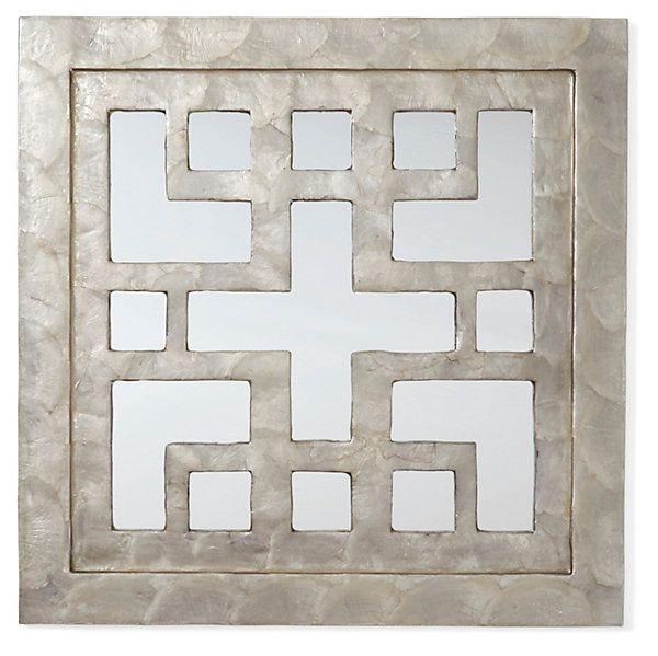 One Kings Lane - Multiple Choice - Capiz Key Mirror, Gray