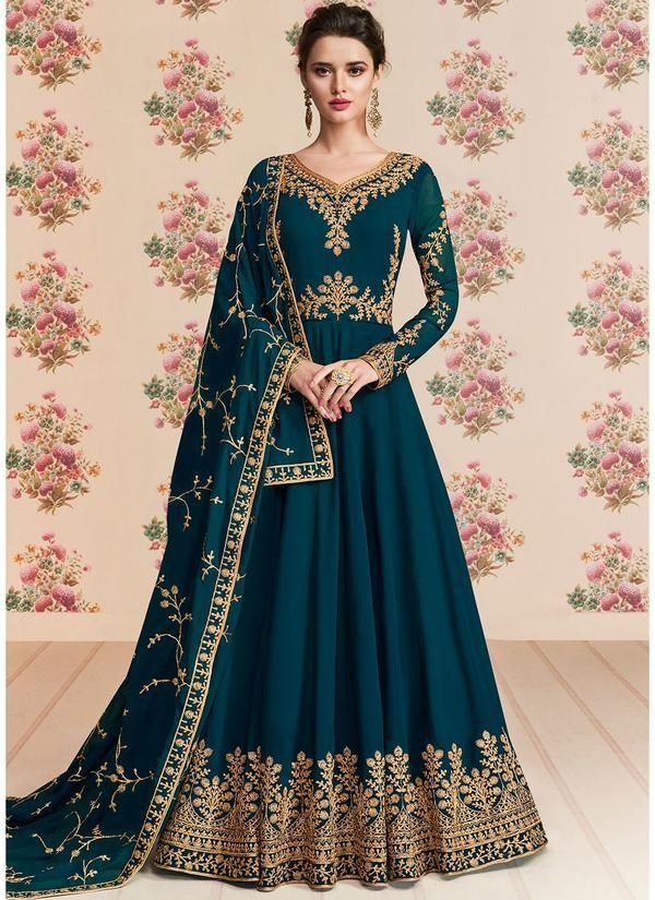 72af95c074 Embroidered Georgette Anarkali Suit in Teal Blue in 2019 | Anarkali ...