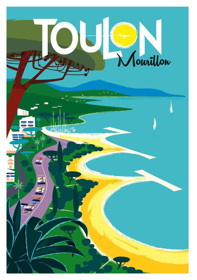 Travel Poster - Toulon  - Mourillon - La Mer Méditerranée - Côte d'Azur -  by Monsieur Z.