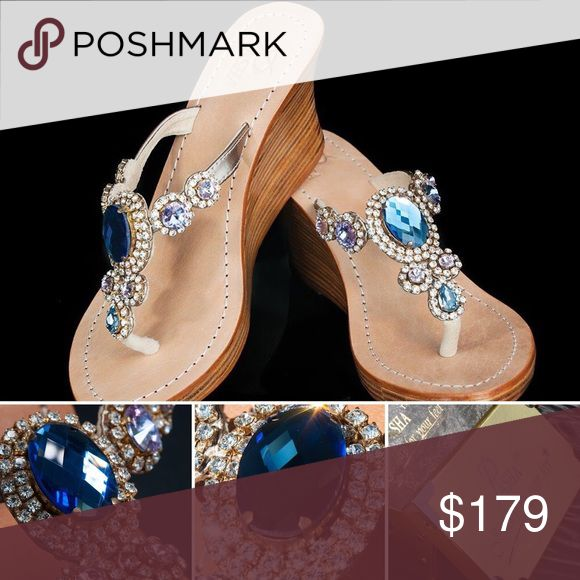 Gorgeous Jewelry Shoes CORINTH ROSE BLUE GOLD Jeweled with Real top quality Bohemian Swarovski style crystals from European Company called Preciosa and Mother of Pearl and Coral from Indian Ocean, own hired divers and own cutters. Only highest grade natural leather. Each pair is created by master shoemakers by hand that takes somewhere around 8 to 12 hours of work Fantastic golden gift box (collapsible) with metal corners and real organza sack.  PLEASE ORDER ONE SIZE UP, ESPECIALLY FROM US…