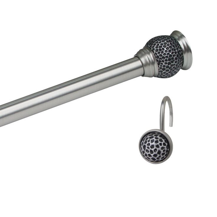 Adjustable Shower Curtain Rod With Matching Hooks   Brushed Satin Nickel
