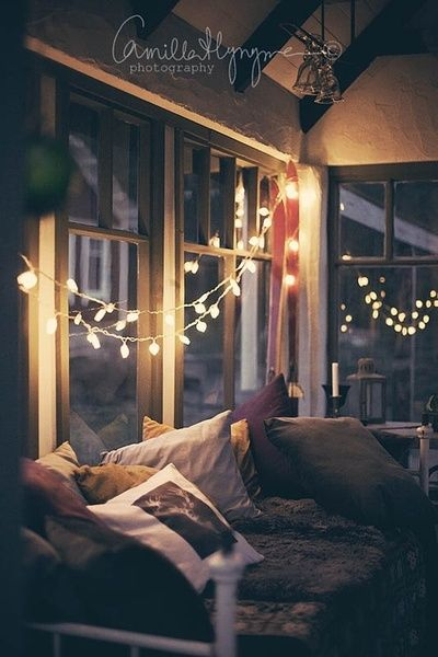 twinkle lights instead of curtains