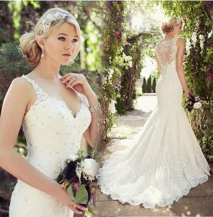 Neu Meerjungfrau V-Ausschnitt Sicke Brautkleider Hochzeitskleid Braut Abendkleid