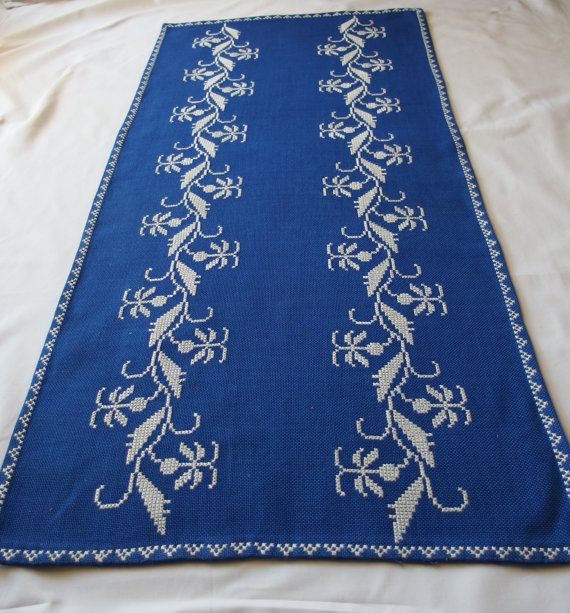 Vintage Blue Tablecloth White Crossstitch by VintageHomeStories