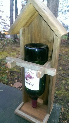 Wine bottle bird feeder old barn wood by StoneRidgeWoodWorks