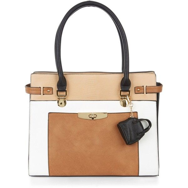 New Look Tan Colour Block Purse Clip Tote Bag (£26) ❤ liked on Polyvore featuring bags, handbags, tote bags, tan, beige tote bag, tan handbags, tan tote bag, beige tote and tan tote
