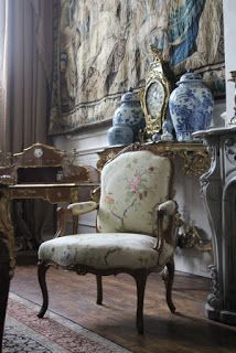 French fauteuil, tapestry, classical French interior