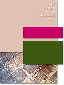 Tuscan вдохновенное палитра в розовой терракоты и Cerise  мягкие розовые терракотовые стены , застекленная керамическая плитка, нейтральная мебель, и вишневый и темно - зеленые акцент цвета.