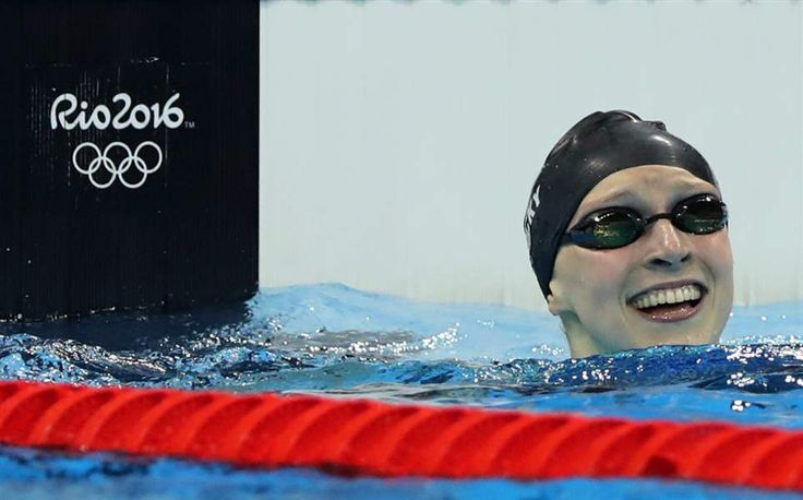 Rio Olympics Swimmers | United States' Katie Ledecky celebrates winning the gold medal in the ...
