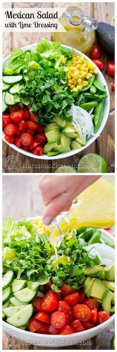 Chopped Mexican Salad and Lime Dressing via Natasha's Kitchen #fresh #healthy