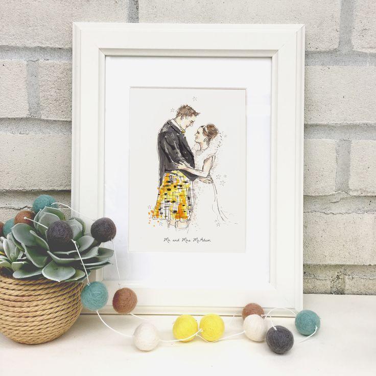 Personalised+Wedding+Couple+Hand-Drawn+Illustration, £63.00