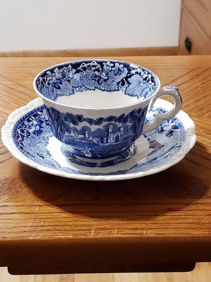 Vintage Mason S Ironstone Vista Blue Cup And Saucer