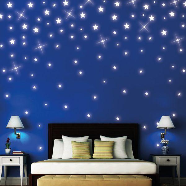 Simple Wandtattoo Sterne St ck leuchten fluoreszierend
