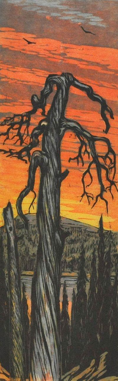 TAPIO PELLERVO HAILI Kelo/Dead Tree (1963 puupiirros/woodcut)