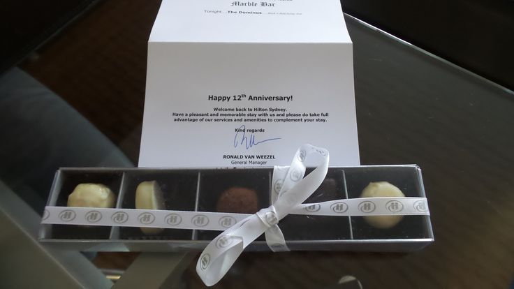 Our Anniversary gift from the Hilton Sydney Hotel