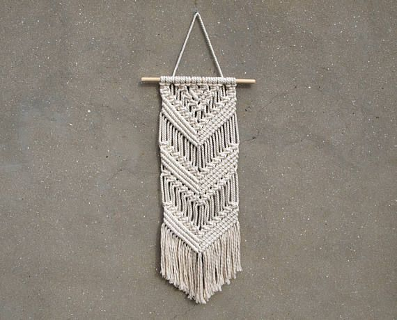 Ready to ship! Chevron wall decor Scandinavian decor Macrame wall hanging Off-white home decor Handicraft hanging tapestry Birthday gift her