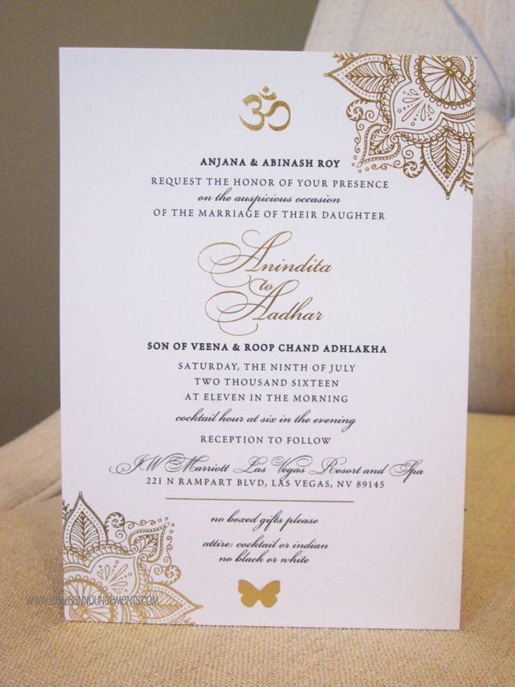 wedding invitation templates in telugu%0A  x  Announcement  Indian Wedding  Gold Foil  Invitation  Sophisticated   weddinginvitation