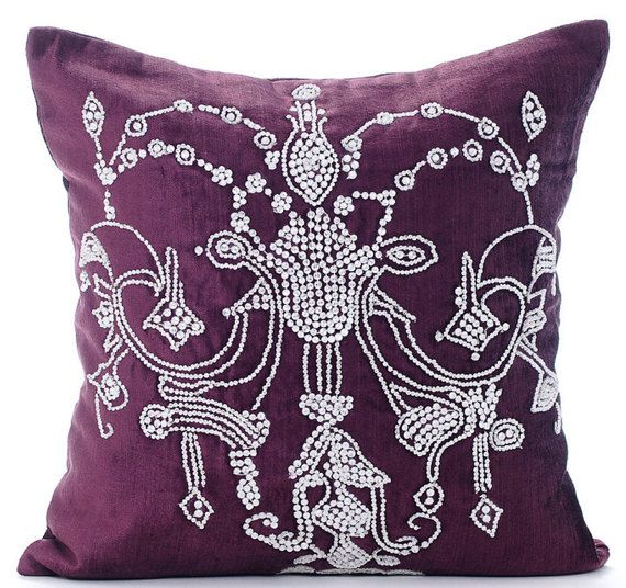 32 best images about Crystal Embroidered Pillows/Cushions on Pinterest Sofa pillows, Purple ...