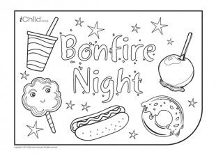 Use this Bonfire Night placemat to colour in food items related to Bonfire Night, such as hot dogs and toffee apples.