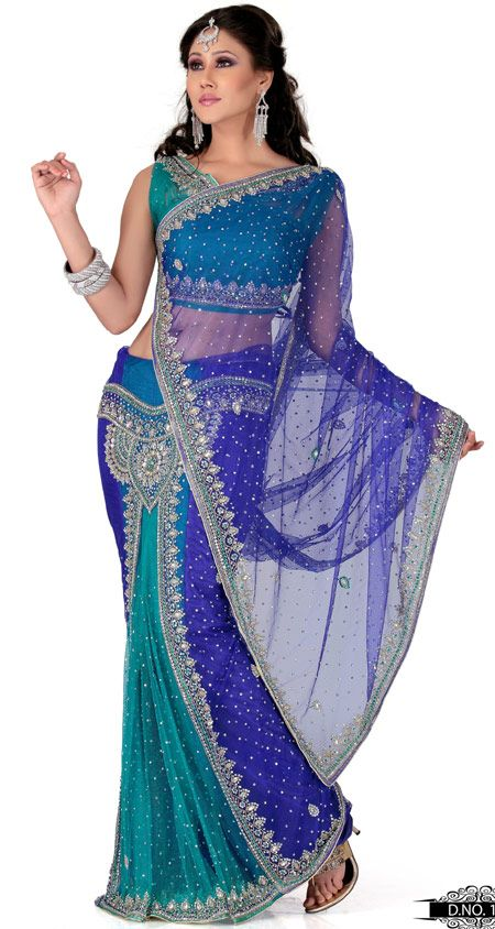 Blue And Turquoise Color Net Designer Saree TYS120. Sale : $178.60