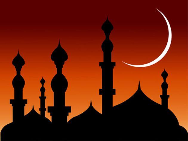Mosque And Ramadan Moon Greeting Vector