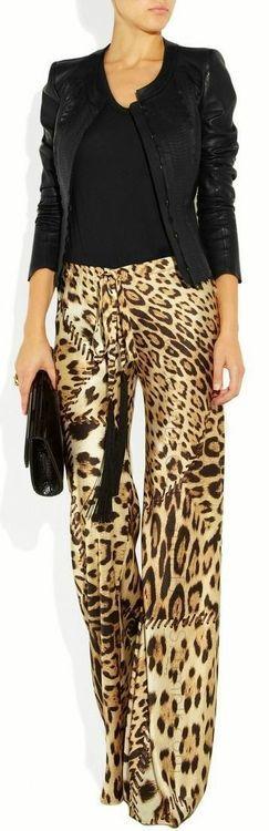 Leopard print patchwork trousers + black leather jacket.