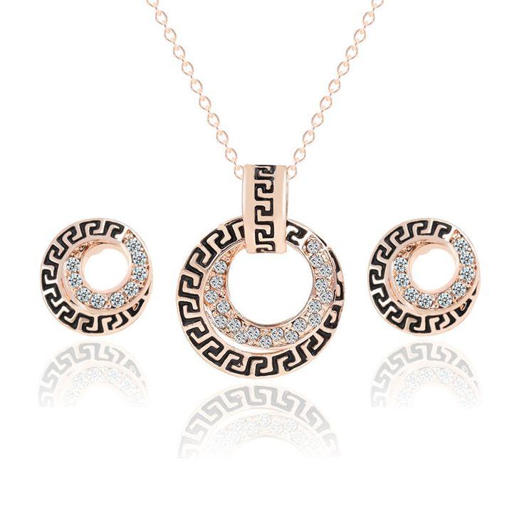 2015 мода новый 18 К желтое золото заполненные круглый ясно австрийский серьги ожерелья цепь ювелирные комплект для девочки бесплатная доставкакупить в магазине Vienna ya's storeнаAliExpress