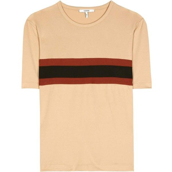 Ganni Dubois T-Shirt (2.120 ARS) ❤ liked on Polyvore featuring tops, t-shirts, brown, beige t shirt, beige top and ganni