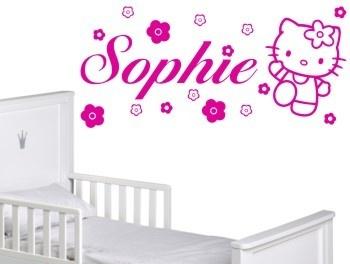 Personalised Hello Kitty Wall Art Sticker Mural Girls Bedroom Gift Idea |  EBay