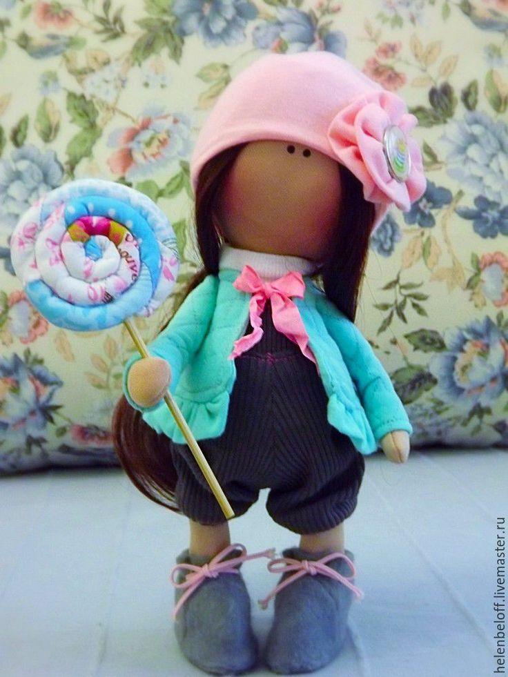 """Купить Интерьерная кукла """"Сладкие щечки"""" - бирюзовый, розовый, персиковый, пирожное, леденец, интерьерная кукла"""