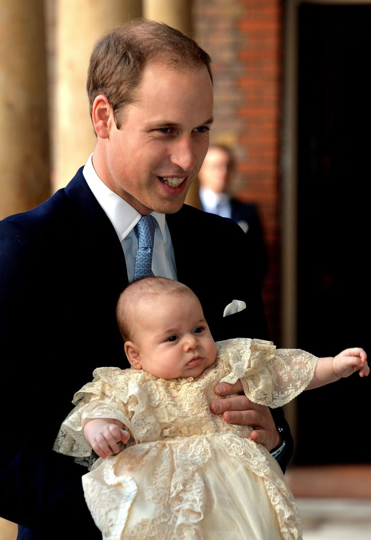 Prince George's christening in October 2013 doubled as the global debut of his now-famous cherubic cheeks (and his equally talked-about unimpressed face).    - Redbook.com