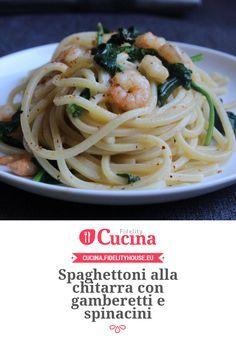 Spaghettoni alla chitarra con gamberetti e spinacini