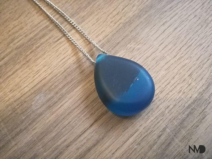 Epoxy Jewelry, pendant. blue epoxy and stone. Beginnings.