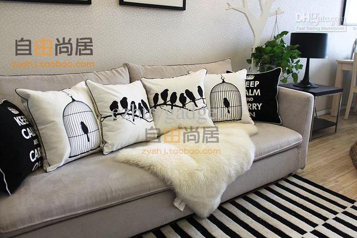 Caso de la cubierta al por mayor - Comprar Negro Blanco Birdcage patrón de lino decorativo Cojines Funda de almohada de algodón, $ 16.09 | D...